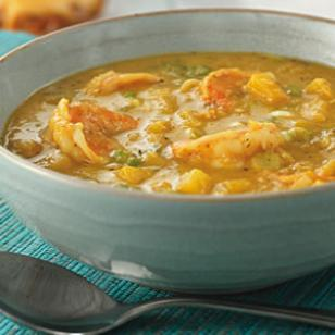Jamaican Shrimp and mangos make this soup delicious
