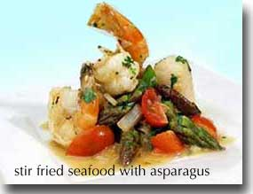 Asparagus and seafood make a healthy and tasty food combination