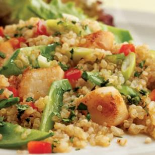 scallops, quinoa and snow peas make a delicious salad which is low in calories